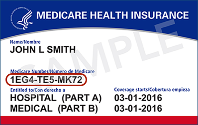 Image of a Medicare card with Medicare Number circled