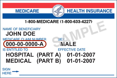 Medicare Cards with Medicare number circled.