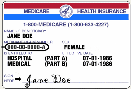 Medicare Card with Medicare number circled