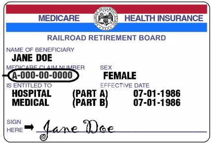 RRB Medicare Card with Medicare number circled