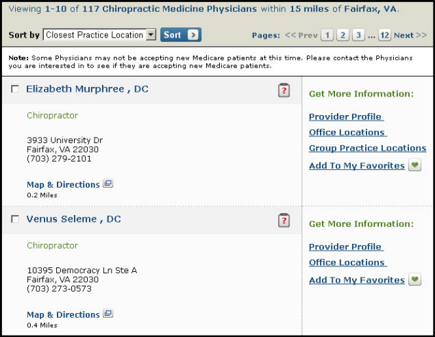 Screenshot of provider search results